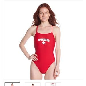 One piece lifeguard suit.